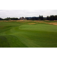 Avoid the mounds at the par-4 ninth hole on the North Course at The Reserve Vineyard and Golf Club in Aloha, Oregon.