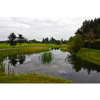 There is a water hazard left of the fourth green on the South Course at The Reserve Vineyard and Golf Club in Aloha, Oregon.