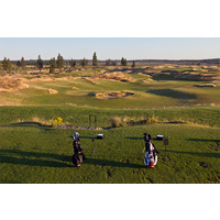 You can see the driving range from the clubhouse at Tetherow Golf Club in Bend, Oregon.