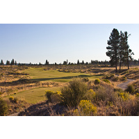 A look from the fairway on the first hole at Tetherow Golf Club in Bend, Oregon.