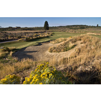 There are deep bunkers on the second hole at Tetherow Golf Club in Bend, Oregon.