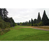 Aim for the top of the ridge when teeing off on the 14th hole at Eastmoreland Golf Course in Portland, Oregon.