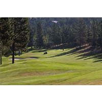 Place your tee shot on the right center of the fairway on the par-4 10th hole at Awbrey Glen Golf Club in Bend, Oregon.