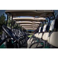 The golf carts are always in perfect condition at Awbrey Glen Golf Club in Bend, Oregon.