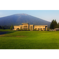 The clubhouse at Big Meadow Golf Course has a view of Black Butte Ranch in the background.