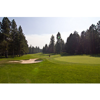 Sand protects both sides of the fifth green on the Big Meadow Golf Course at Black Butte Ranch.