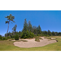 Avoid the large bunker to the right of the 10th green on the Bandon Trails course at the Bandon Dunes Golf Resort.