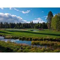 The par-3 fifth at Black Butte Ranch's new Glaze Meadow Course is nothing short of spectacular.