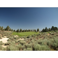 The par-3 seventh on the Nicklaus Course is a good example of the beauty of Pronghorn's natural landscape.