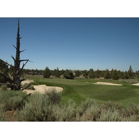 The 462-yard, par-4 11th on the Nicklaus Course at Pronghorn Club & Resort has no shortage of sand.