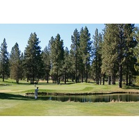 Water protects the front of the par-5 seventh green at Widgi Creek Golf Club in Bend.