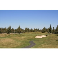The fourth hole, a dogleg right, is the longest par 4 on the Challenge golf course at Eagle Crest Resort in Redmond, Oregon.